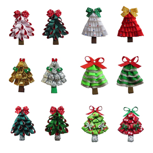 free shipping boutique ribbon hair bows custom christmas tree hair bows with alligator clip