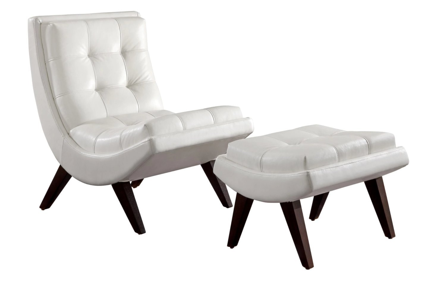 Get Quotations · Lounge Chair Ottoman Set Is Made From Tufted White Leather  With Urban / Modern Feel.
