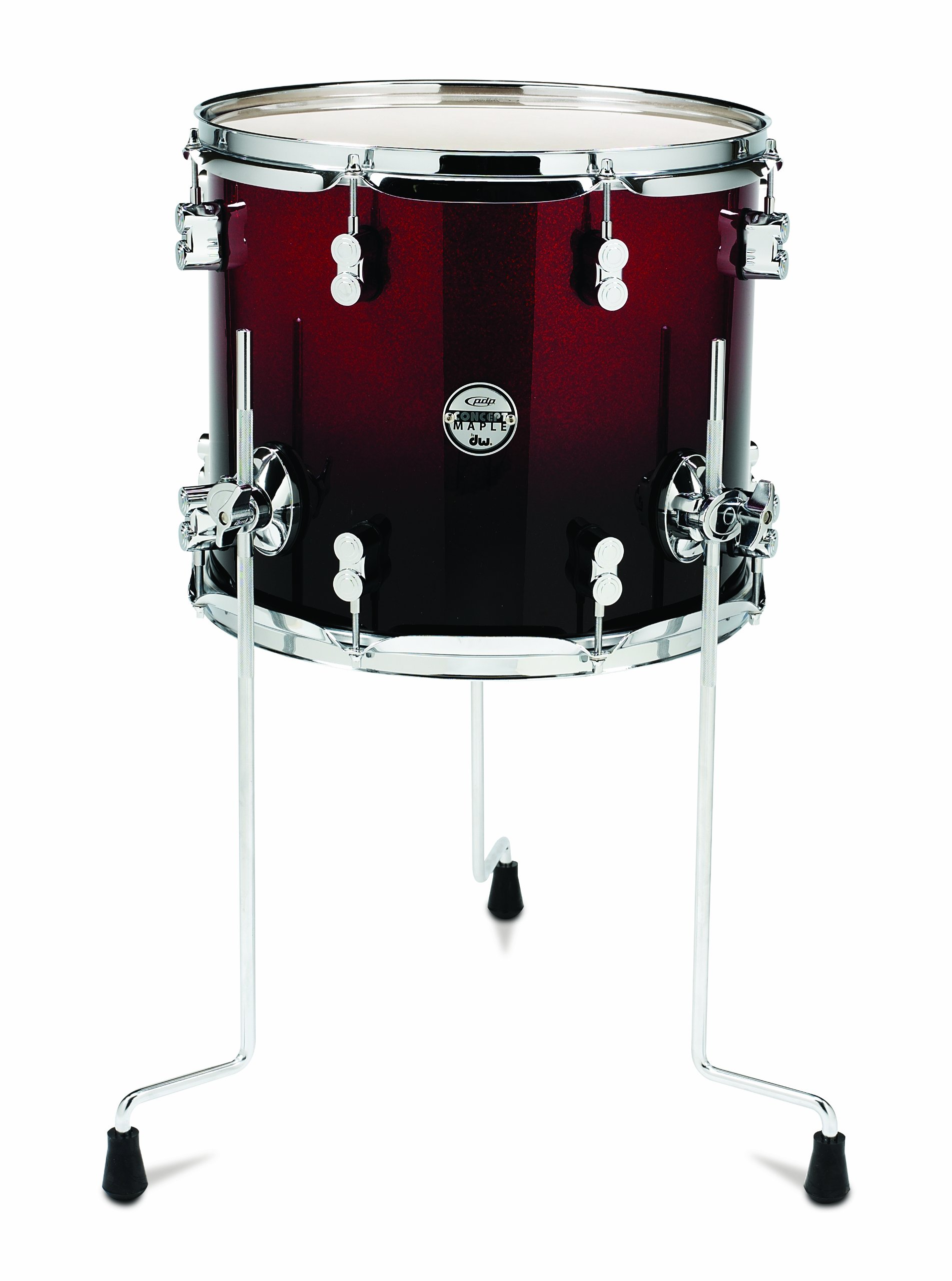 Pacific Drums PDCM1214TTRB 12 x 14 Inches Tom with Chrome Hardware - Red to Black Fade