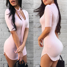 B11951A Europe and the US fashion lady pink bodycon bandage dress