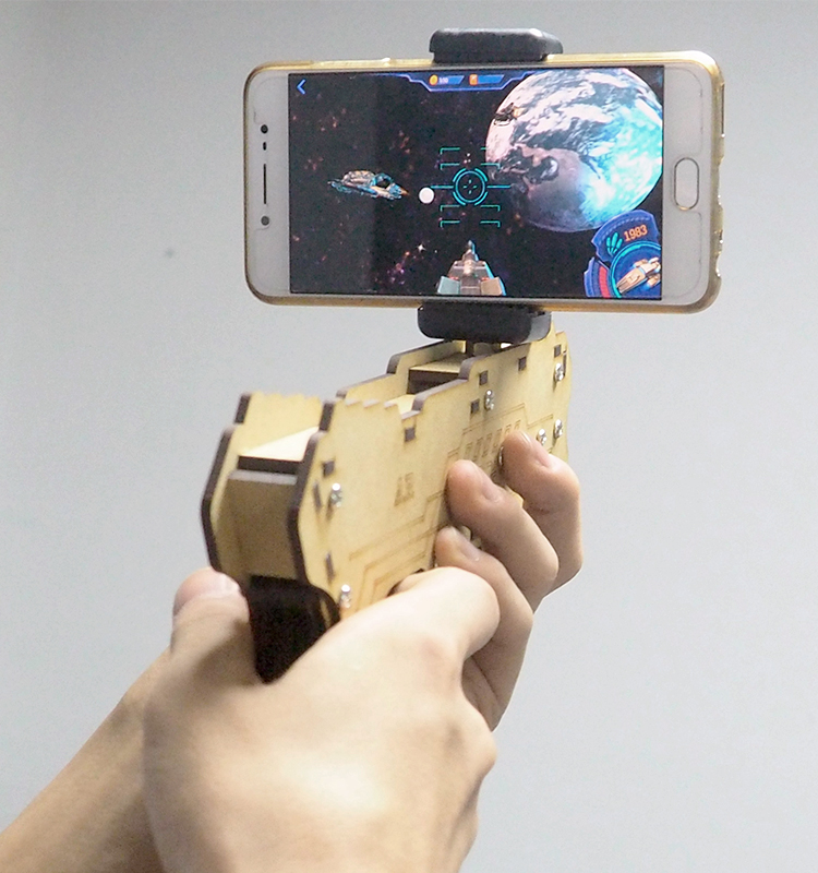 2017 trending products bluetooth shooting virtual ar toy <strong>gun</strong> with phone stand holder wood made ar-<strong>gun</strong>