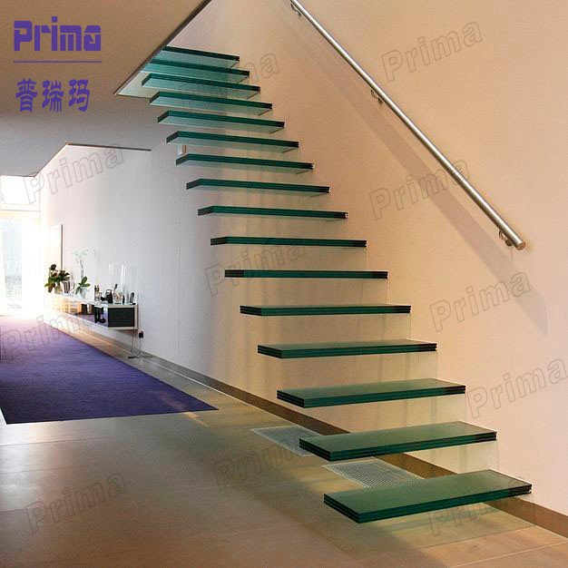 Modern Laminated Glass DIY Floating Stairs With Stainless Steel Wall  Handrail ...
