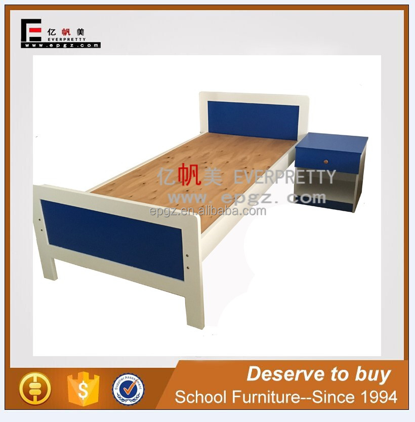 High Quality Wood Bedroom Set Design Furniture Export, Single Wood Bed with cabinet