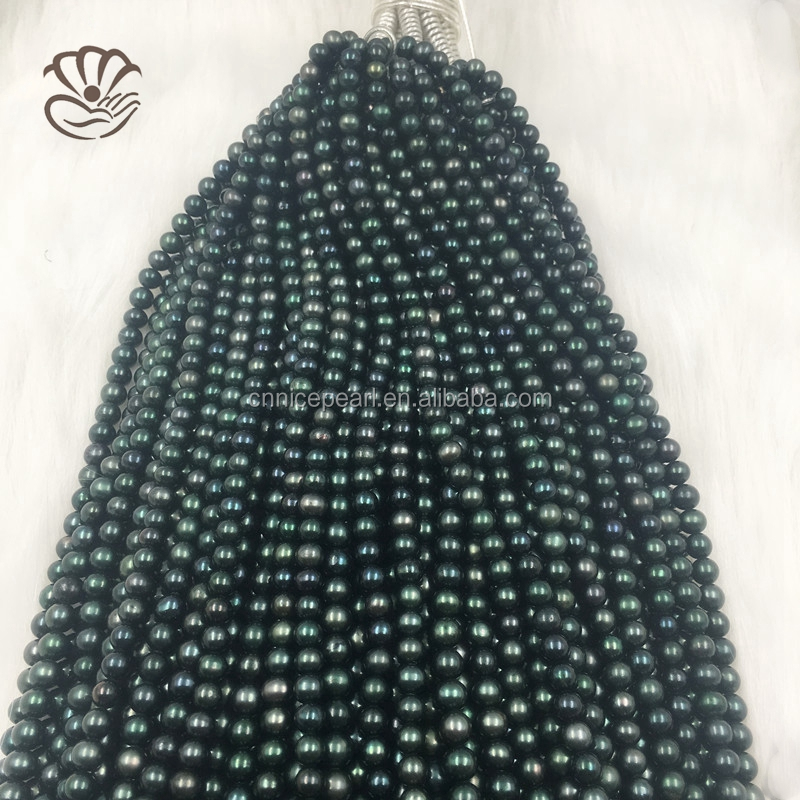 Ink green fresh water pearl 6-6.5 mm flawless 10 wholesale DIY pearl jewelry fashion