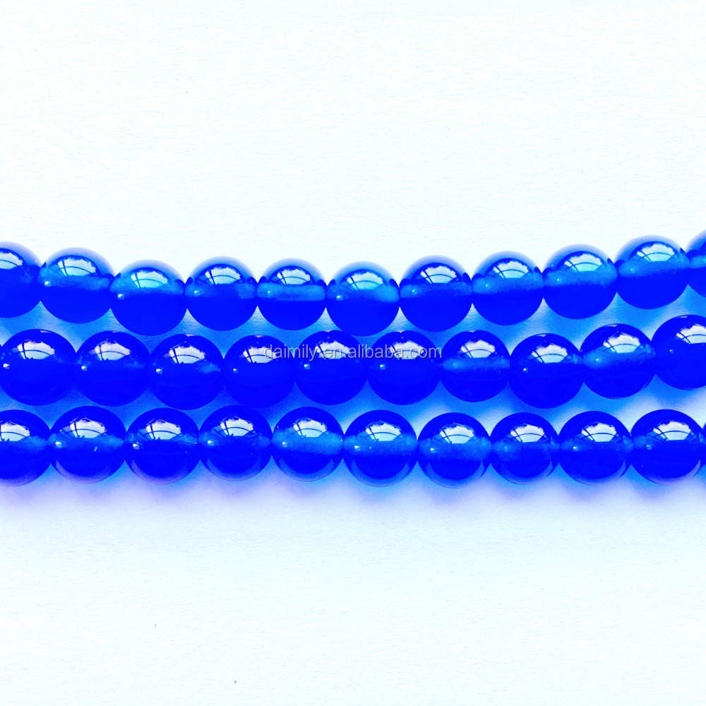 Blue Agate Round Gemstone Bead Semiprecious Stone Jewelry