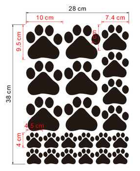 Multicolor Dog Cat Paw Print Wall Stickers Walking Paw Prints Wall
