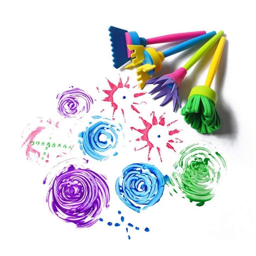 Yeahii 4Pcs/set DIY Painting Tools Drawing Toy Flower Stamp Sponge Brush Graffiti Art Painting Tools For Children Kids