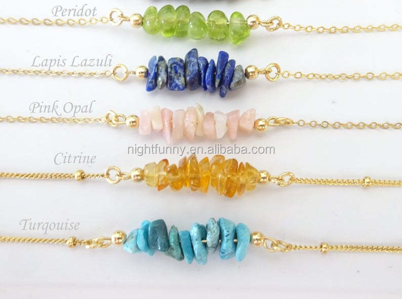 Birthstone necklace, Zodiac Healing crystals Necklace, Stone Pendant Raw Crystal bar Natural Necklace