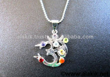Chakra Om Cut stone with Chain pendant