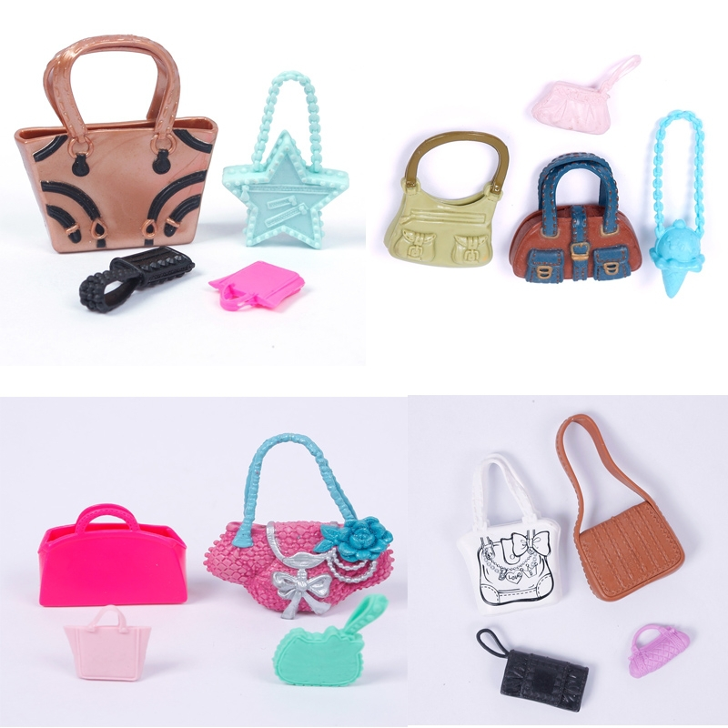 MiniFocus Special! Set of 4 Fashion Dolls Handbag For for barbie Dolls Outfit Dress Accessories Rising stars