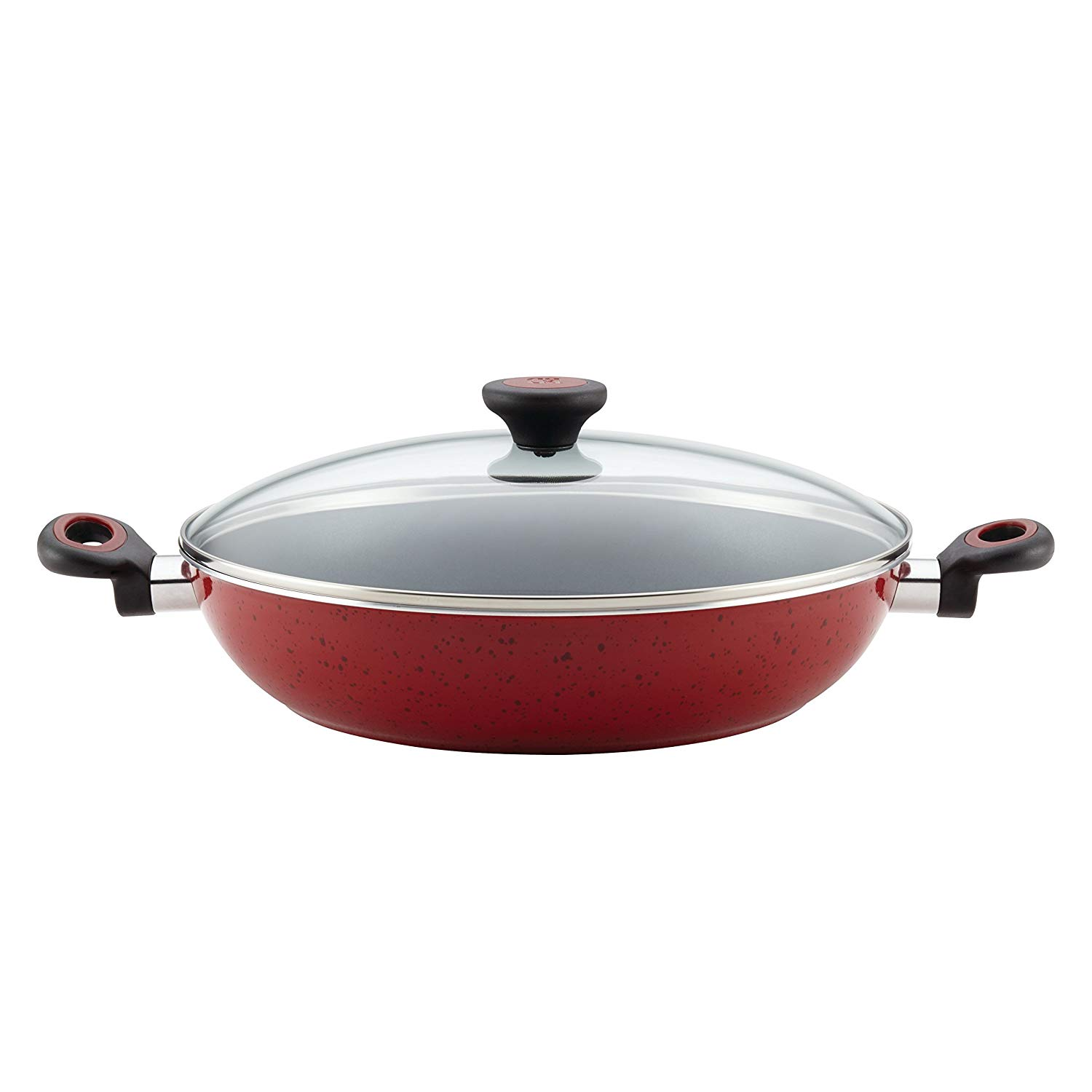 Cooking In Style Fantastic Cookware Classic Red Color 12.5 Inch Aluminum Fry Pan With Lid Non Stick Beautiful Design Heavy Quality Kitchen Use Large Capacity Simple Addition To Kitchen