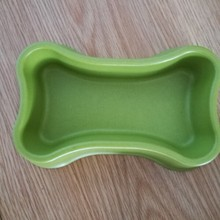 novelty bamboo fiber bone shaped dog food feeding bowls