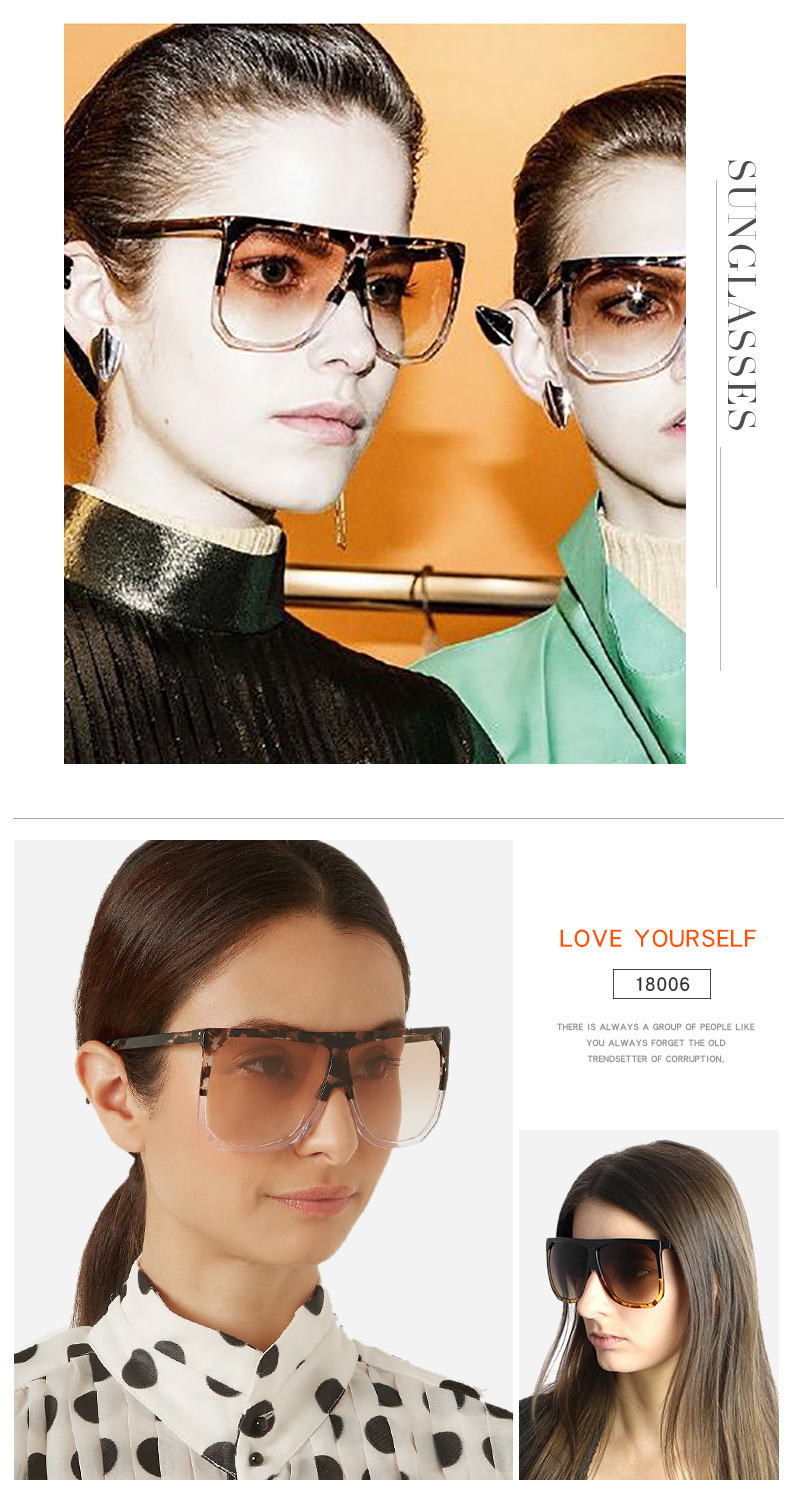 2019 Summer UV400 OEM Luxury Popular Gradient Trendy PC Big Frame Ladies Metal Hinge Black Fashion Women Oversized Sunglasses