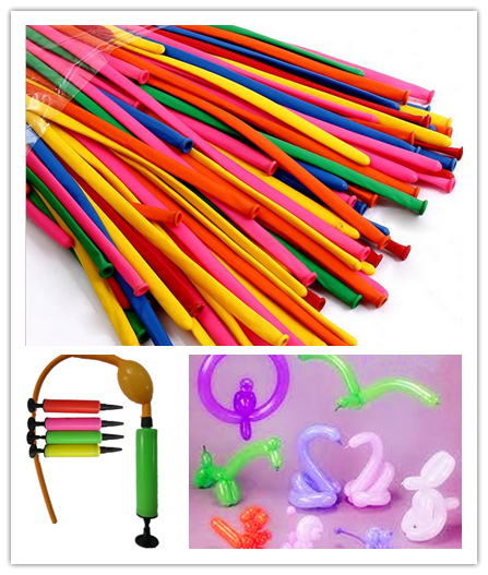 210pcs Long Balloons with 1 piece balloon pump modelling twisting balloon animal