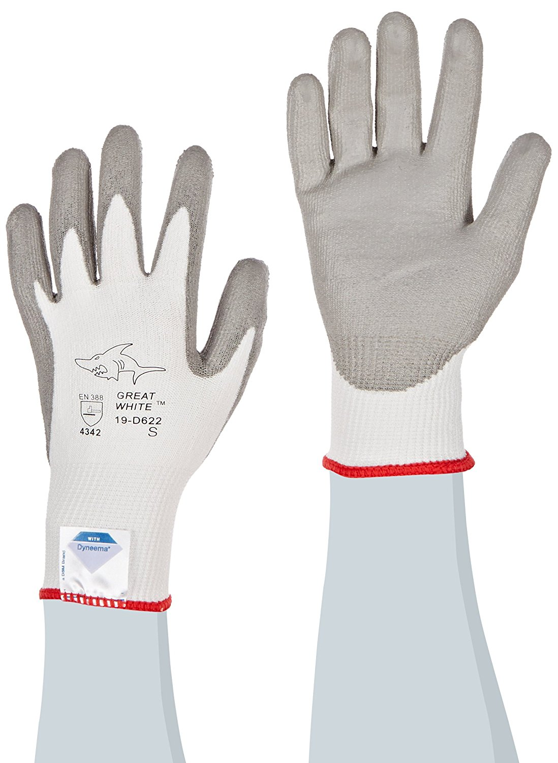Great White 19-D622/S 13-Gauge Dyneema/Lycra Cut Resistant Gloves with Polyurethane Coated Palm and Fingers, White/Gray, Small, 1-Dozen