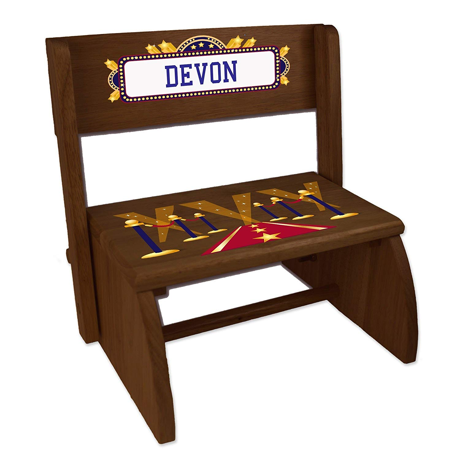 Personalized A Star is Born Blue Espresso Wooden Folding Stool and Seat