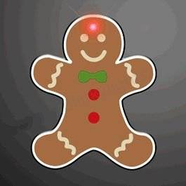 Gingerbread Man Flashing Body Light Lapel Pins by Blinkee