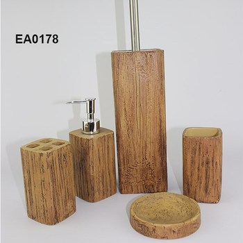 Ea0178 bamboo bathroom accessory set with soap dispenser for Bathroom accessories hs code