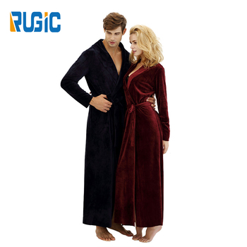a18dc3b74 Home Couple Long Length Lovers Women and Men Sleepwear Robes Nightgown  Microfiber Fleece Velvet Bathrobes