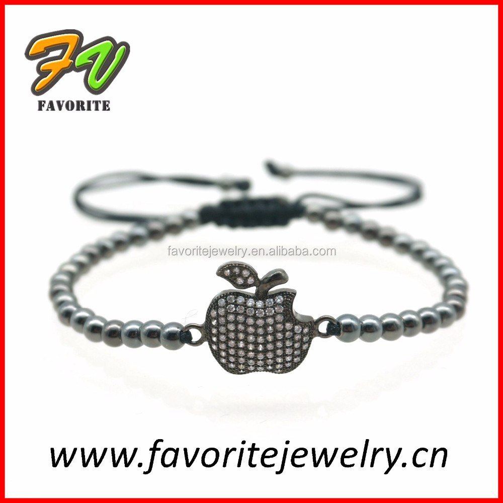 hot sale fashion custom bead bracelet lava with micro pave charms