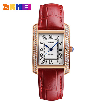 Luxury Leather Strap Ladies Chrono Square Face Diamond Watches