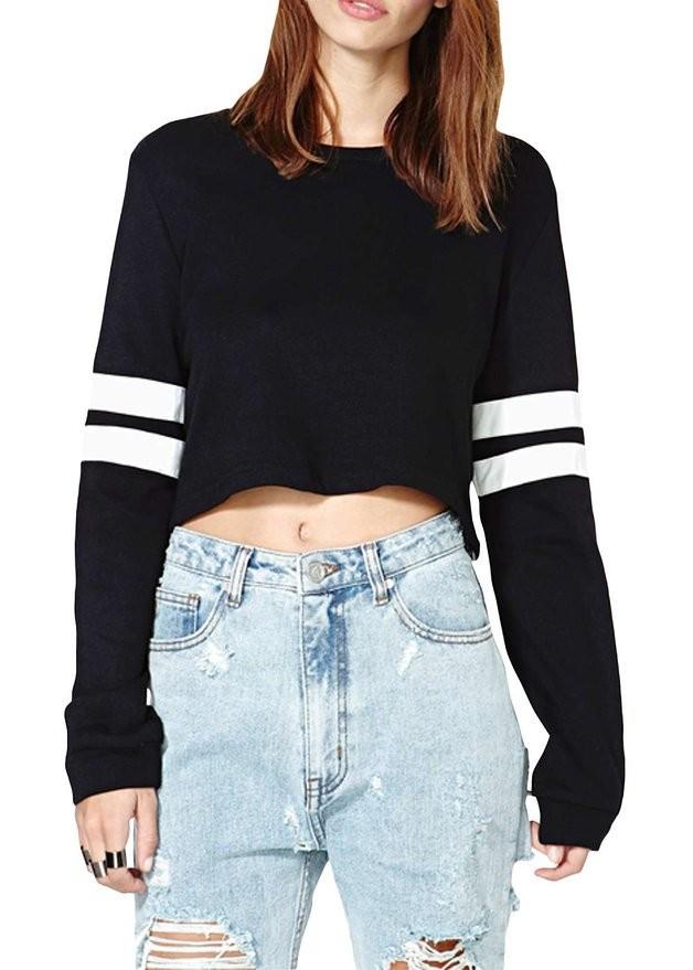 Women's Plain Design Fashion Long Sleeves Striped Baseball Style ...