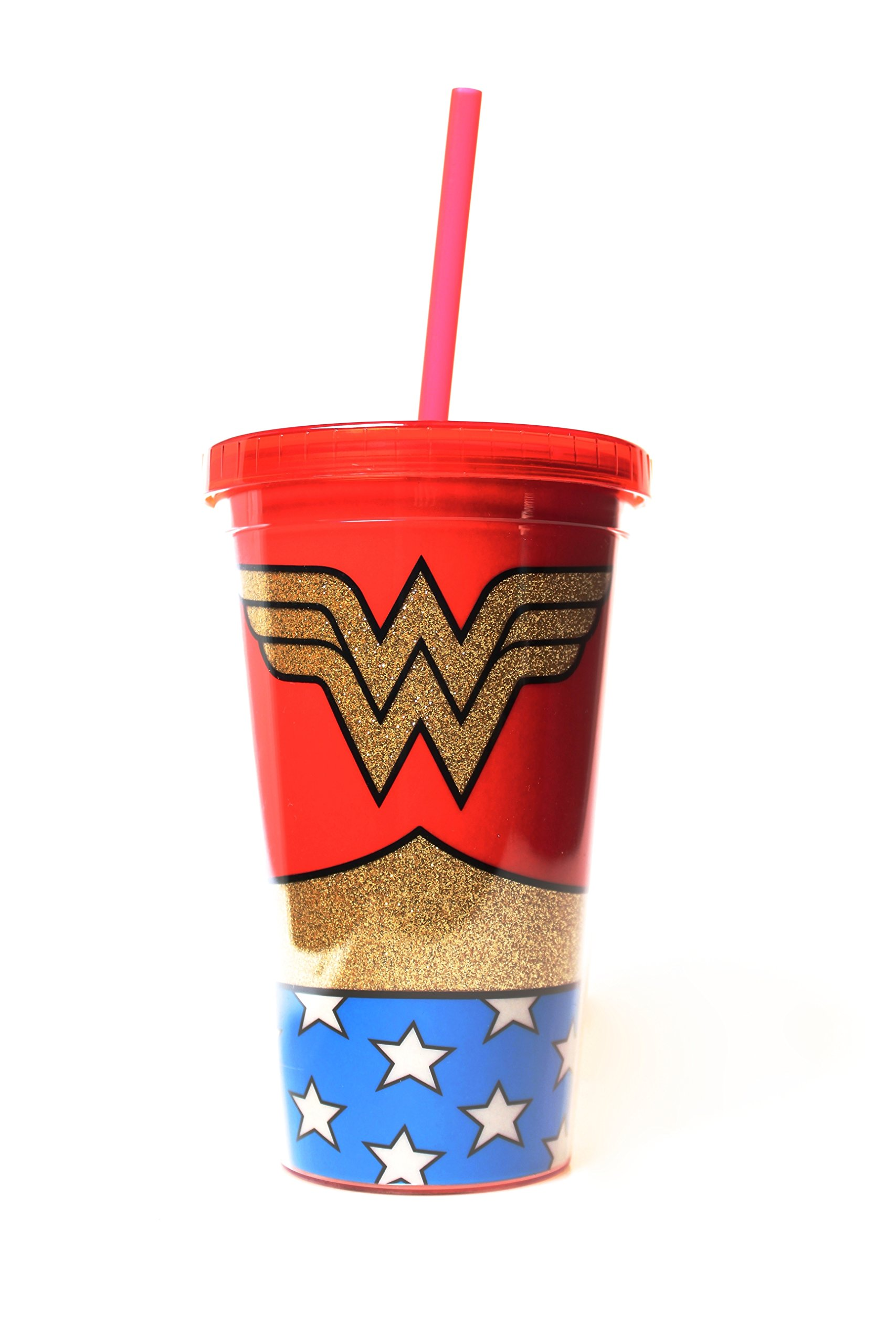 Silver Buffalo WW01087G DC Comics Wonder Woman Uniform Glitter Plastic Cold Cup with Lid and Straw, 16-Ounces