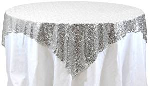 Koyal Wholesale 405009 Square Sequin Tablecloth, 72 by 72-Inch, Silver