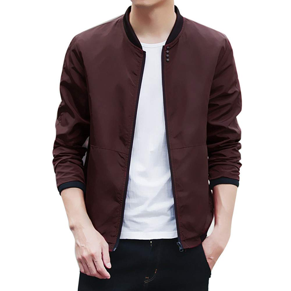 Mens Baseball Jacket,Casual Solid Basic Varsity Jacket Sport Sweatshirt Male Teens Outwear Coat Zulmaliu