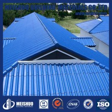 Corrugated Sea Blue Roofing Sheets in construction