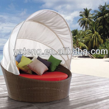 Hotel High Quality Round Synthetic PE Rattan Wicker Hand Weaving With  Aluminum Frame Big Round Sun
