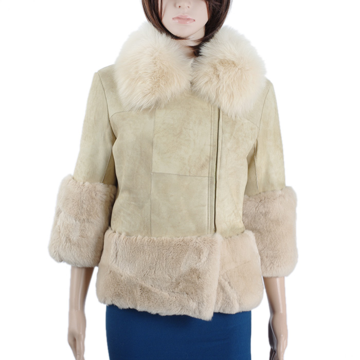 Newest Double Face Genuine Rabbit Fur Lining Leather Coat With Fox Fur Collar KZ150113