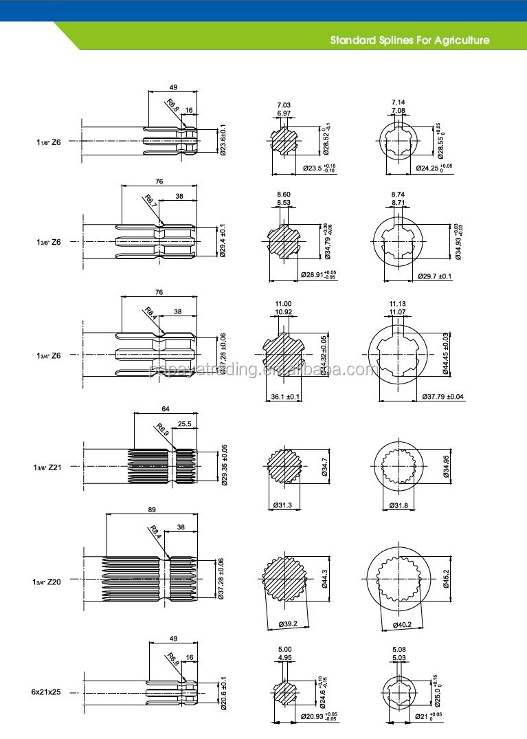 Tractor Pto Shaft Dimensions : Spline pto shaft with ce certificated buy