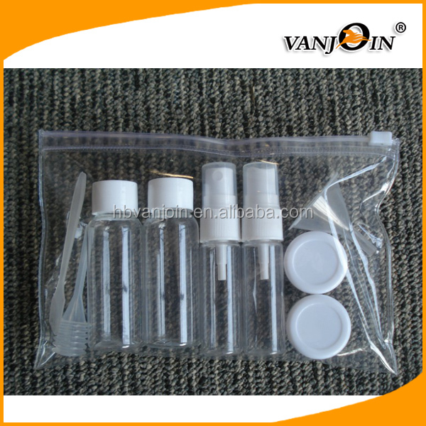 100ml 60ml plastic travel kit use cosmetic bottle set with spray/flip cap