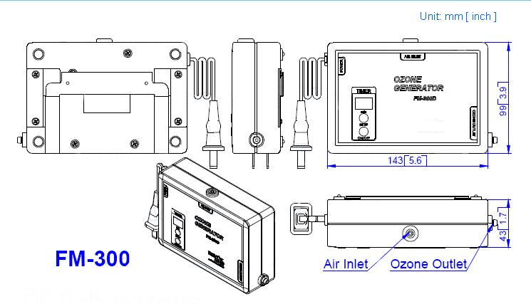 Máquina Gerador de Ozônio Ozonizador De Água potável Para Venda 110 V 220 V Ozônio Purificador de Água FM-300