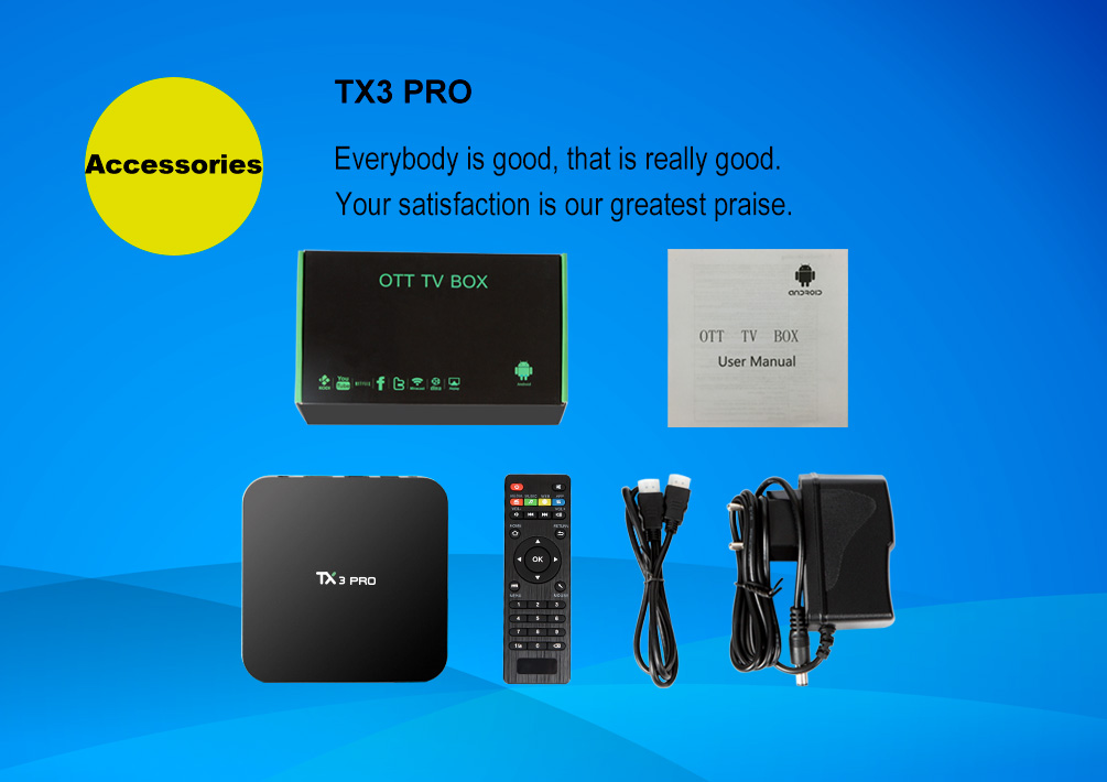 TX3 Pro tv box android 7.0 Media Player Amlogic S905W Quad Core Wifi 4K H.265 android IPTV Benutzerhandbuch ott tv box