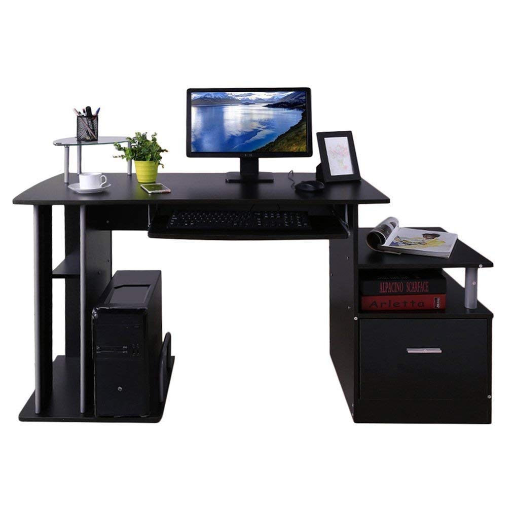 Computer Corner Desk With Keyboard Tray Drawer, Separate Storage Facility for Printer and Computer Tower, Comes with a Drawer for Storing Writing Utensils or Files, Dark Brown + Expert Guide