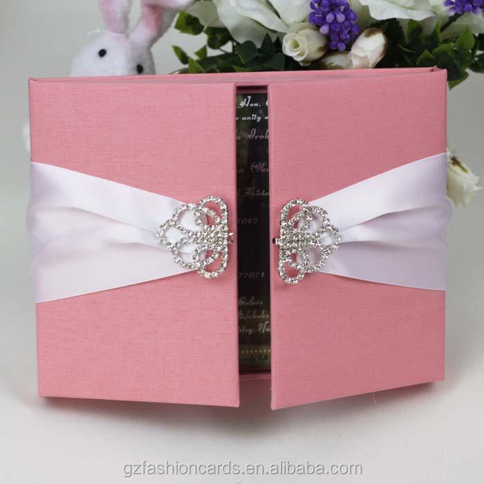 2016 New Design Elegant Pink Silk Gatefold Wedding Invitation Box ...