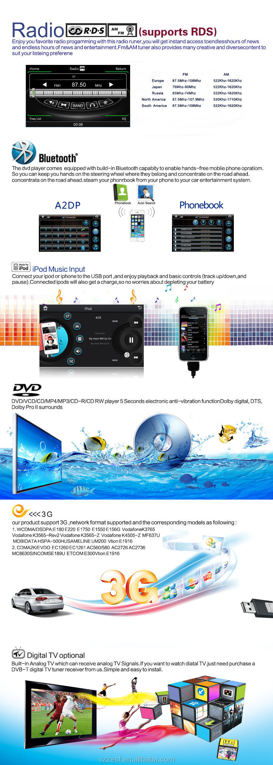 ZESTECH NEW Multimedia CE certification and 7 inch 2 din car dvd player for Mercedes benz w203 VIANO W168 2000-2005