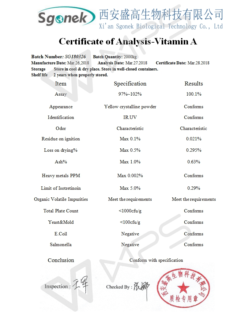 Professional supplier industrial chemical Vitamin A CAS No.:11103-57-4