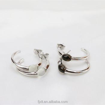 Las Earrings Designs Pictures Plain Silver Hoop Gemstone Women Jewelry With Cat S Eye Moonstone Or