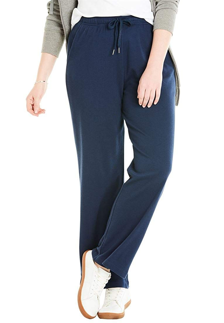 4b952ef5569 Get Quotations · Woman Within Plus Size Petite Sport Knit Straight Leg Pant