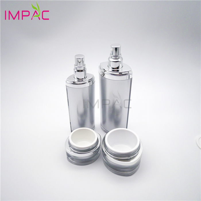 Luxury Skin Care Cream and Lotion Packaging Empty Silvery Cosmetic Bottle Set