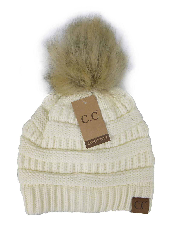 788013f06ac51 Get Quotations · Crane Clothing Co. Women s Fur Pom CC Beanie