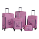 4pcs set spinner wheels embroidery soft luggage cheap novelty suitcases with matched handbag