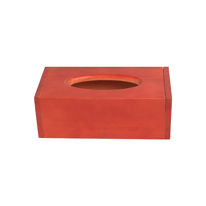 Boutique Facial RED Wooden Square Tissue Box Cover