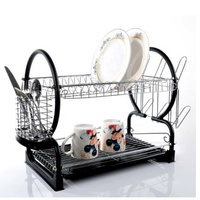 Housewares 2-Tier Dish Drainer with Mug Holder and Cutlery Kitchen Dish Rack
