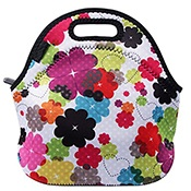 Neoprene no smell insulated lunch tote bag with water bottle sleeve carrying