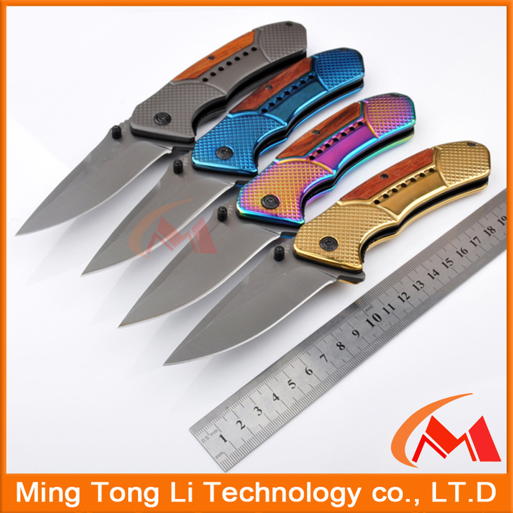 440 Stainless steel pocket knife,Multi-color Titanium coating folding knife with belt clip,outdoor Long lasting multifuntion too
