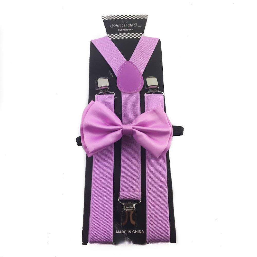 Awesome Lavender Purple Wedding Accessories Adjustable Bow Tie & Suspenders